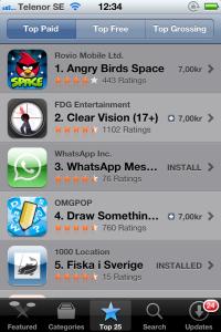 Fiska i Sverige på 5:e plats i App Store
